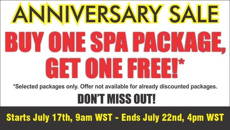 Buy 1 spa package, get 1 free! One week only!